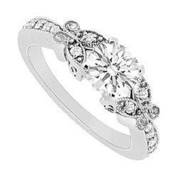 14K White Gold Semi Mount Engagement Ring 0.16 Carat Diamonds Not Included Center Diamond