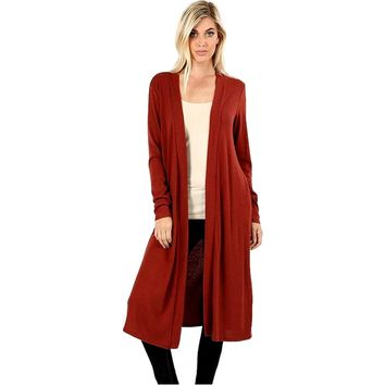 "Duster Sweater Open Cardigan with Side Pockets-42"", Dark Rust"