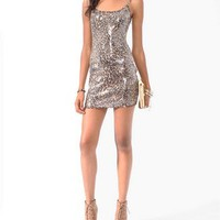 Sequined Leopard Print Dress