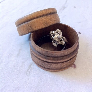 Wood Ring Box Ring Bearer Box Keepsake Ring Box Dark Walnut Wood Box Rustic Wedding Ring Box Round Box Country Wedding Ring Holder