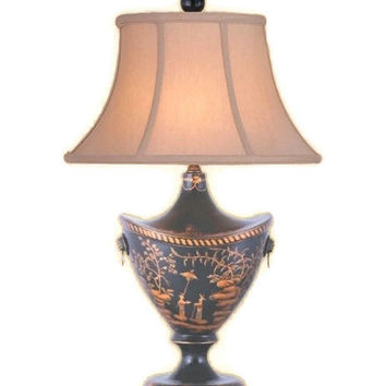 """Beautiful Chinese Black Lacquer Vase Table Lamp w Shade and Finial 24"""""""
