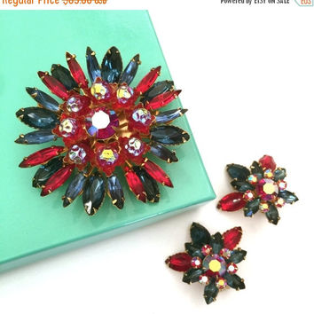 Demi Sale Beau Jewels Rhinestone Demi, Sapphire Blue and Red Marquise, Iridescent Red Art Glass,