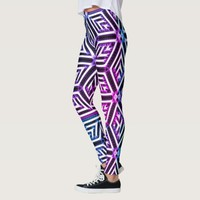 Silver, white, black & rainbow geometric pattern leggings