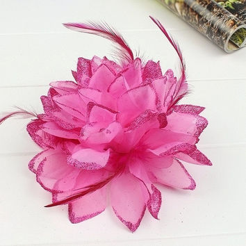 New 15cm Diameter Party Prom Hair Clips Children's Big Feather Flower Hairpins Hair Decorations Wedding Hair Bands Hair Rope