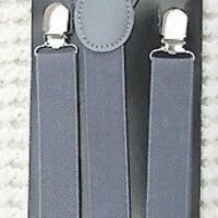 Charcoal Gray Grey Dark Gray Y-Back Adjustable Suspenders Unisex,Men,Women-New!