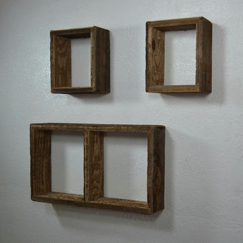 Shadow box wall shelves from rustic reclaimed wood set of 3