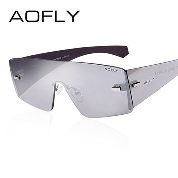 AOFLY Fashion Brand Cool Sunglasses Women Sun Glasses Rimless Sunglasses Mirror Glasses women Goggles Occhiali da sole UVA/UVB