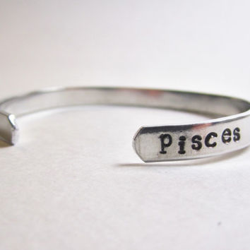 Pisces Bracelet, Pisces sign jewelry, astrology bracelet, zodiac jewelry, horoscope cuff bracelet, birthday gifts for her, march birthdays