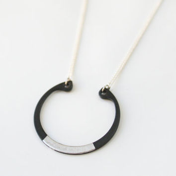 Silver black geometric circle necklace