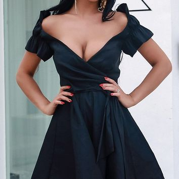 Super Flirt Black Short Sleeve Cross Wrap V Neck Ruffle Wrap Skater A Line Flare Casual Mini Dress