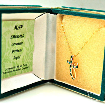 NOS Emerald green Rhinestone Cross and gold plated necklace.