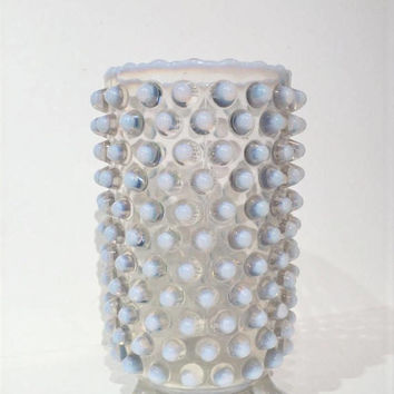 Fenton Opalescent Hobnail Vase, Opalescent Hobnail Planter, Footed Opalescent Vase, Footed Opalescent Planter, 3 Toed Moonstone Vase