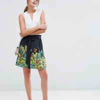 Oasis Tropical Print Skater Skirt at asos.com