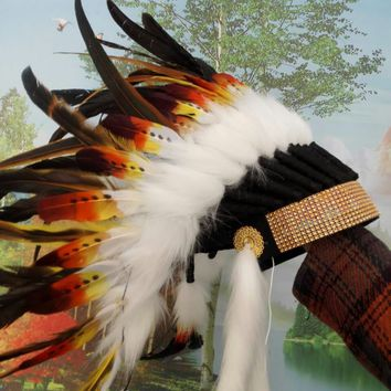 Orange indian feather headdress american costume indian chief warbonnet costumes halloween party decor