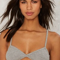 Nasty Gal Take Comfort Ribbed Bralette - Gray