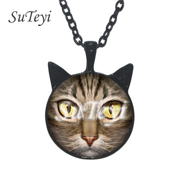 Cat face lovers Jewelry Glass Photo Cabochon statement Necklace