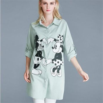 2017 Fashion New Summer Print Long Sleeve Blouse Women Plus Size XL-5XL Tops Casual Turn-down Collar Shirt S-L With Button 72139