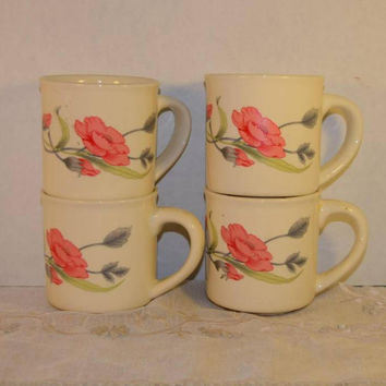 Pink Floral Set of 4 Mugs Vintage Pink Roses Coffee Mugs Hot Tea Cups Hot Chocolate Mugs Set of 4 Matching Cups Shabby Chic Cottage Chic
