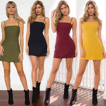 Fashion Solid Color Hollow Back Knotted Backless Sleeveless Strap Mini Dress
