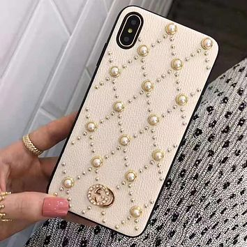 GUCCI Fashion Women Chic Pearl iPhone X XR XS XS MAX Phone Cover Case For iphone 6 6s 6plus 6s-plus 7 7plus 8 8plus X White