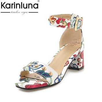 Flowers Printing Ankle-Strap Women Party Sandal