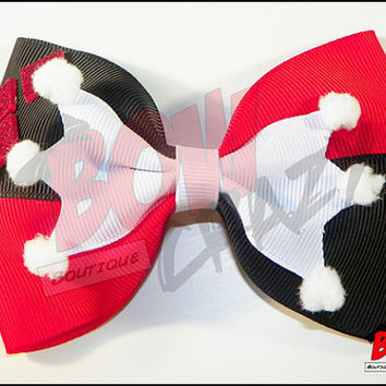 Large Harley Quinn Inspired Hair Bow by TotallyBowCrazy on Etsy