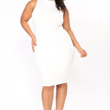 Need Somebody Ribbed Dress - White