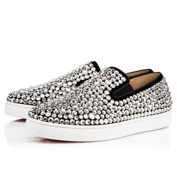 DCCK2 Christian Louboutin Cl Roxxxy Navy Man Flat Version Black Strass Sneakers 3171137cm47