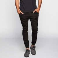 Crash Mens Chino Jogger Pants Black  In Sizes