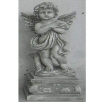 "28.75"" Standing Cherub Angel on Pedestal Outdoor Garden Statue"