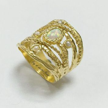 14K Yellow Gold Natural Australian White Opal Cabochon Ring