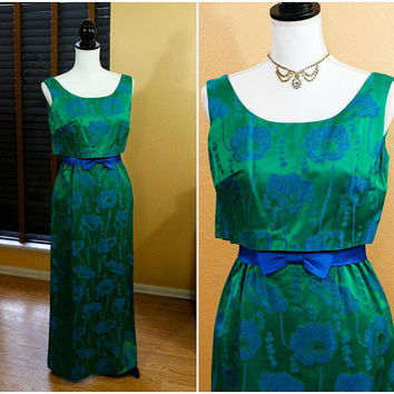 Emerald Green Brocade Column Evening Dress, Sleeveless Empire Waist, Blue Poppy Flowers Hand Made, XS Jackie Kennedy, Vintage 1960s Fashion