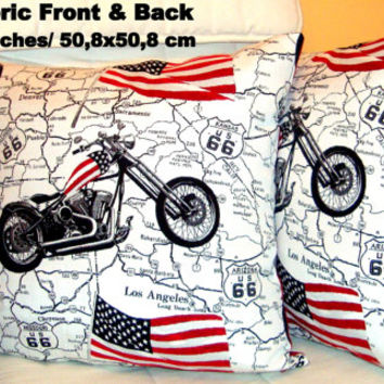 Set of two Motorcycle 20x20 pillow covers - Rockabilly throw