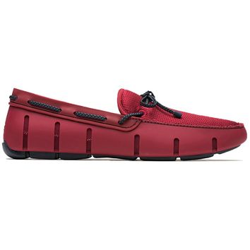 Water Resistant Braided Lace Loafer in Deep Red & Navy by SWIMS