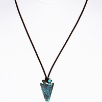Aged Turquoise Arrow Head Pendant Necklace