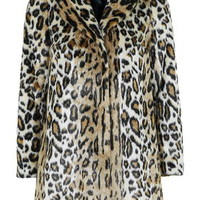 PETITE Leopard Swing Faux Fur Coat - Multi