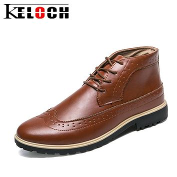 Keloch Mens Casual Shoes PU Leather Brogue Shoes British Style Flats Business Men Oxfords Shoes Chaussure Homme