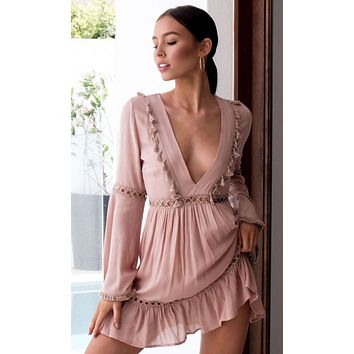 Whisper Kisses Mauve Pink Long Bell Sleeve V Neck Crochet Tassel Empire Waist Casual Mini Dress