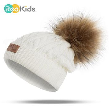 REAKIDS 2018 Pom Children Winter Hat For Girls Hat Knitted Beanies Cap Brand Thick Baby Cap Baby Girl Winter Warm Hat