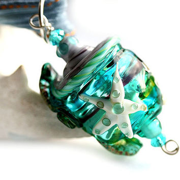 Glass Shell Pendant green teal ocean
