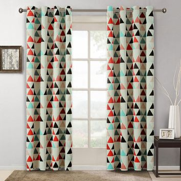Children Curtains for Bedroom American Style Geometric pattern Room Kids Decoration Blackout Fabrics Drapes Single Panels(A230)