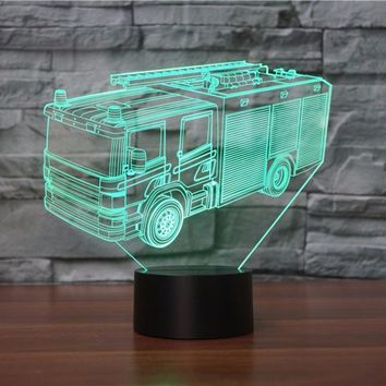 Fire Truck 3D Night Light 7 Colors Changing LED USB Remote Touch Switch 3D Lamp As Children's Room Toys Decoration Lights