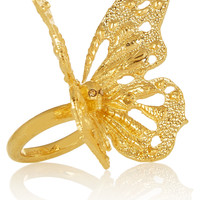 Alexander McQueen - Gold-tone Swarovski crystal butterfly ring