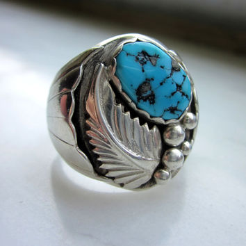 CLEARANCE sterling turquoise handcrafted vintage ring mens solid silver Southwestern ring vintage Native American handcrafted sterling ring