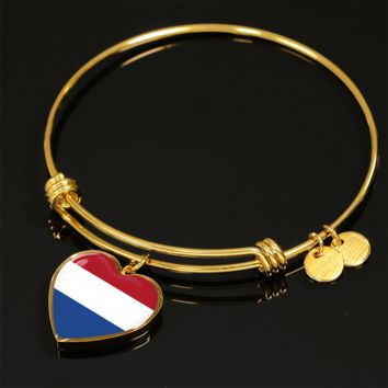 Dutch Pride - 18k Gold Finished Heart Pendant Bangle Bracelet