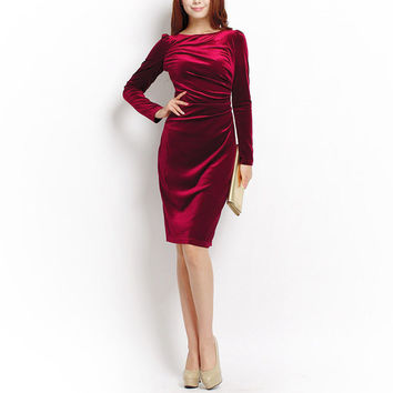 Women Wine Red Shift Dresses Winter De Mujer Elegant Vestidos Robes Long Sleeves Casual Knee Length Office Work Velvet Dress