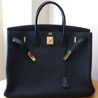 Authentic**Hermes** Black ^30cm^ Birkin Togo Leather Gold Hardware Bag
