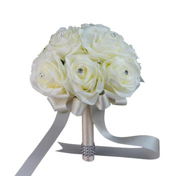 Supreme quality ivory rose bouquet-Pick Ribbon Color