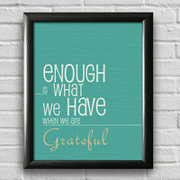 Gratitude Poster, Typography Poster, Wall Art, Inspirational Print, Motivational Art, Positive Quote, Family Art, Home Decor