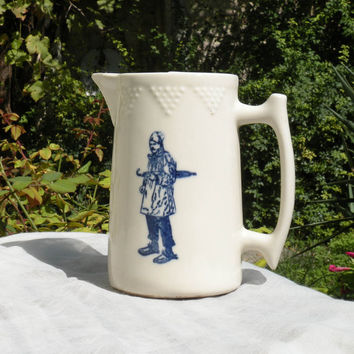 French vintage white earthenware / pottery jug with blue rural characters transferware, rustic, French rustic jug pitcher, cottage chic,